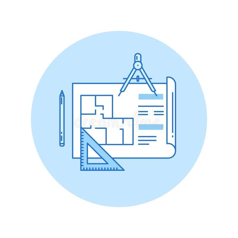Architektonicznego projekta ikona w lineart stylu royalty ilustracja
