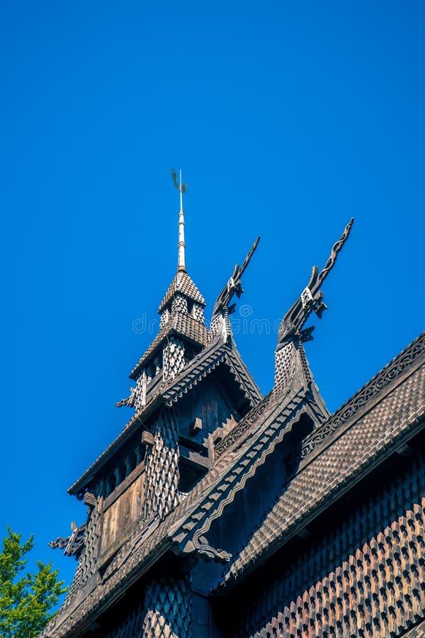 Architektoniczni elementy Norweski stary drewniany kościół fotografia royalty free