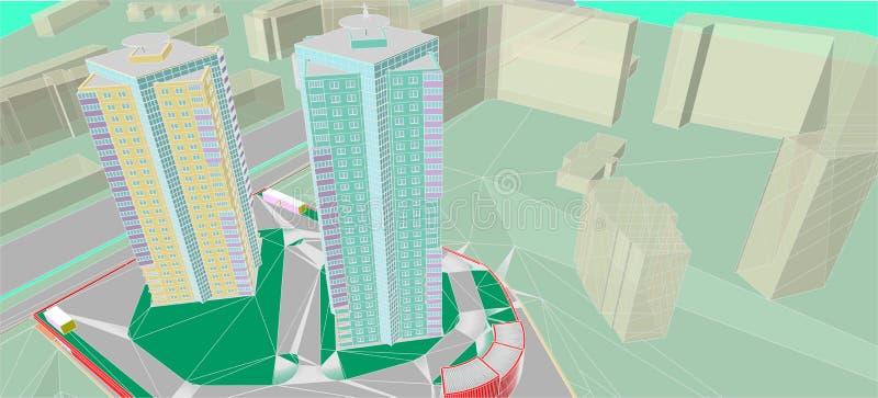 Architektoniczni rysunki ilustracji