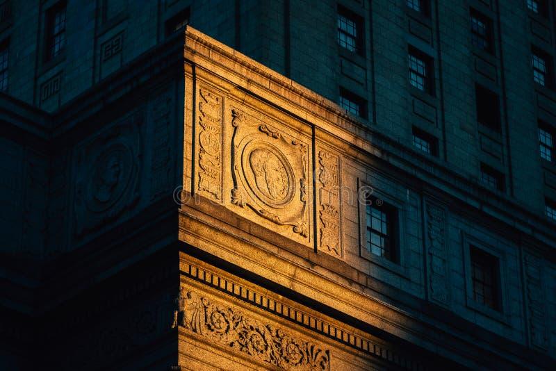 Architektoniczni szczegóły urząd miasta, w Manhattan, Miasto Nowy Jork fotografia royalty free