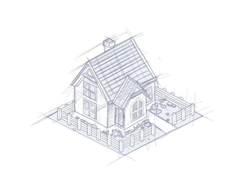 Architektoniczny domowy nakreślenie odizolowywający na białej ilustraci ilustracji