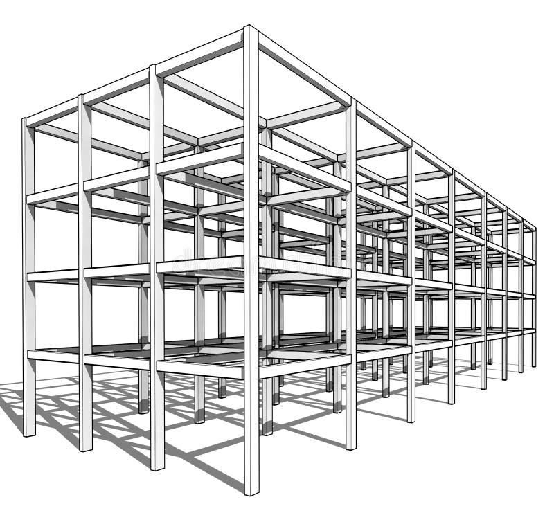 Architektoniczny nakreślenie rysunku budynku model royalty ilustracja
