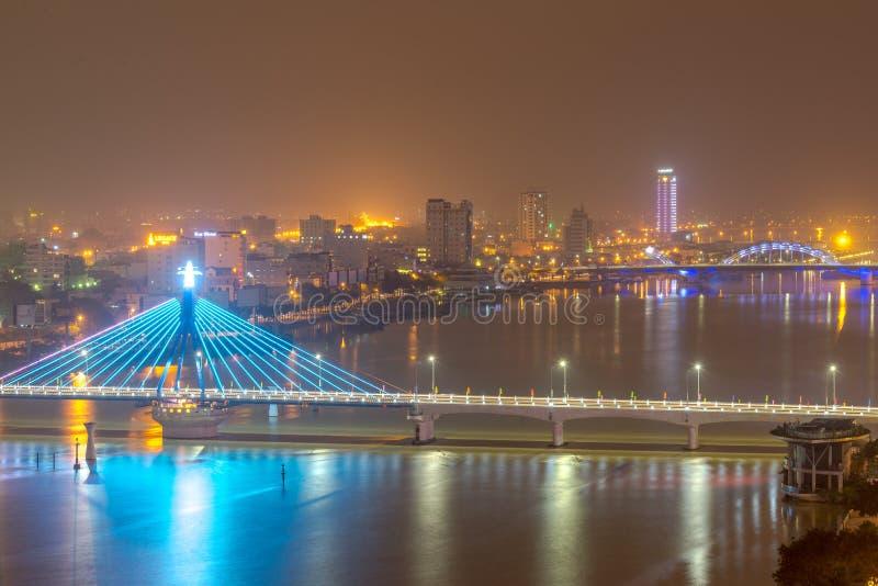 Architektoniczny piękno żagla mosta Han most, da nang Wietnam fotografia royalty free