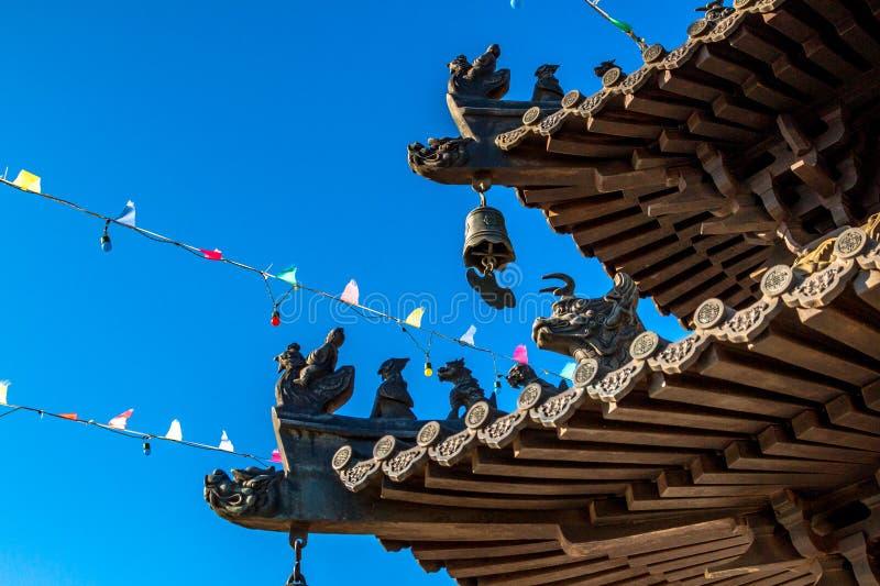 Architektoniczny pojawienie Lingbao świątynia w Hunchun, Chiny, w północnej prowincji Jilin obrazy royalty free