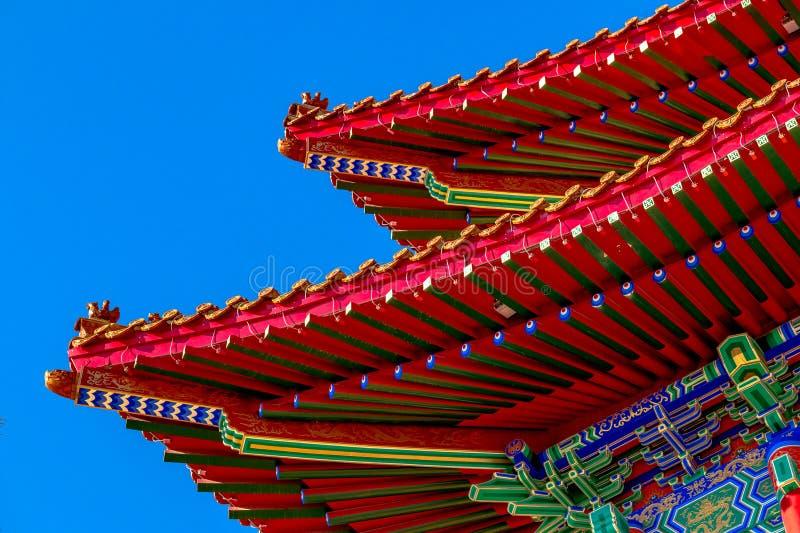 Architektoniczny pojawienie Lingbao świątynia w Hunchun, Chiny, w północnej prowincji Jilin obraz stock