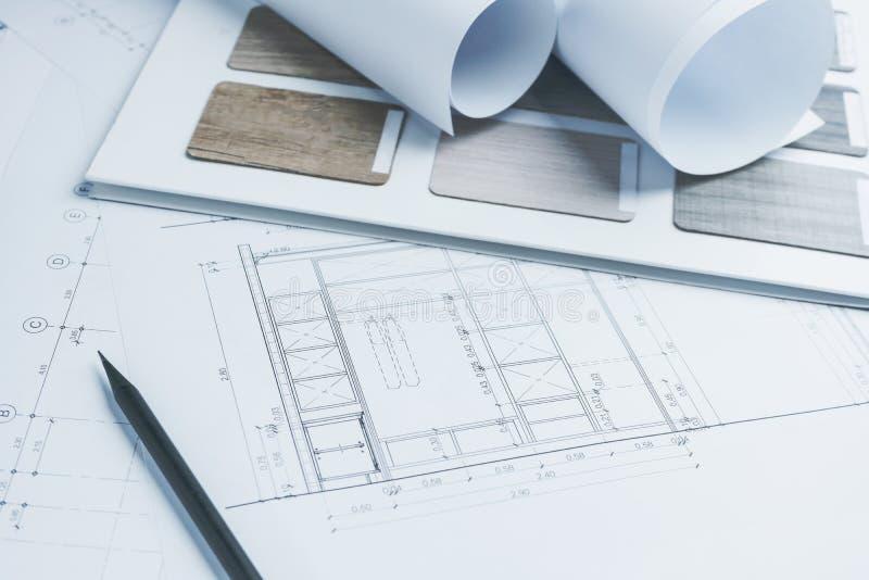 Architektoniczny rysunku papier z koloru i materiału próbkami dla obrazy stock