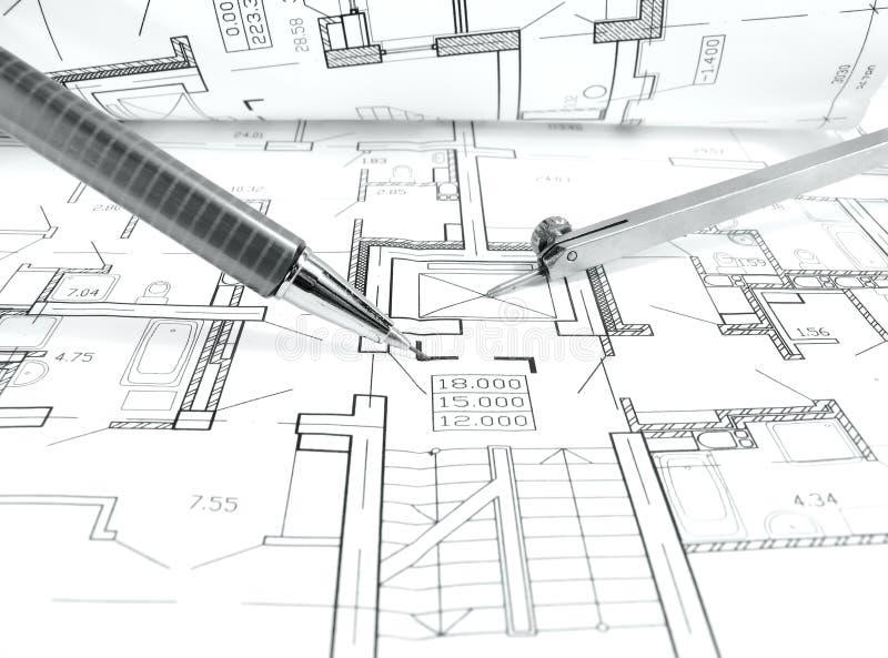 architektoniczny rysunku plan domowy projekt - architektura, inżynieria i nieruchomość, projektowaliśmy pojęcie obrazy royalty free