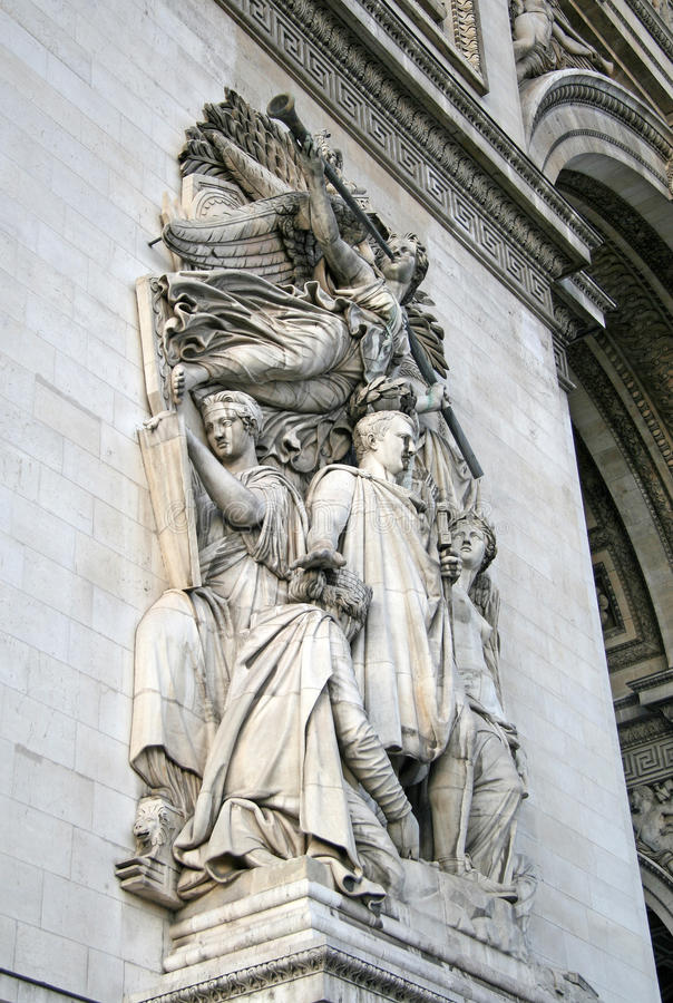 Architektoniczny szczegół łuk De Triomphe De l'Etoile, Paryski, Francja zdjęcia stock