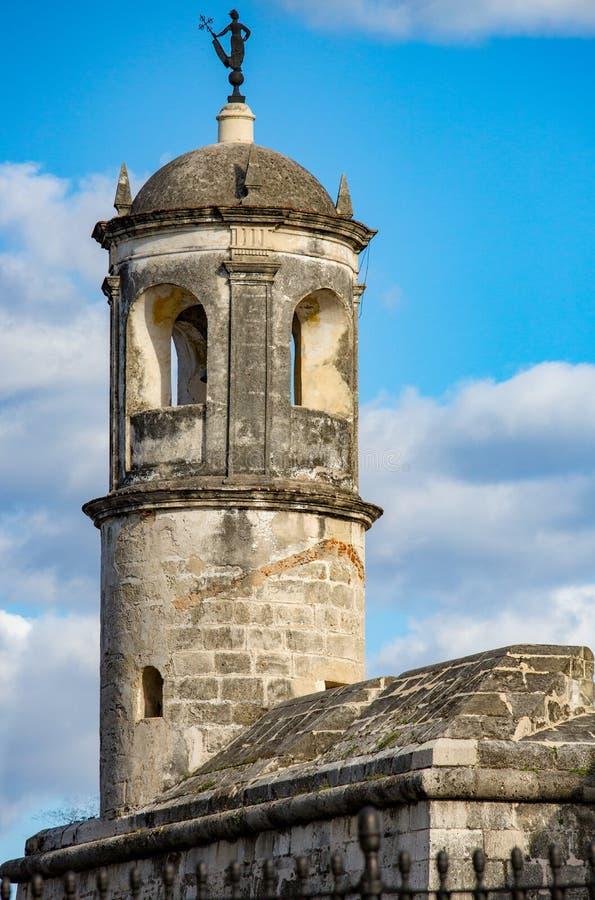 Architektoniczny szczegół średniowieczny kasztel w Hawańskim, Kuba obraz stock