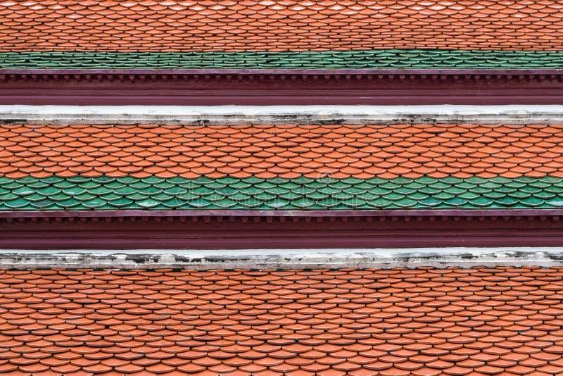 Architektoniczny szczegół Dachowe płytki Wat Phra Kaew, świątynia Szmaragdowy Buddha, Bangkok, Tajlandia zdjęcie stock