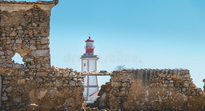 Architektoniczny szczegół przylądka Espichel latarnia morska zdjęcie royalty free