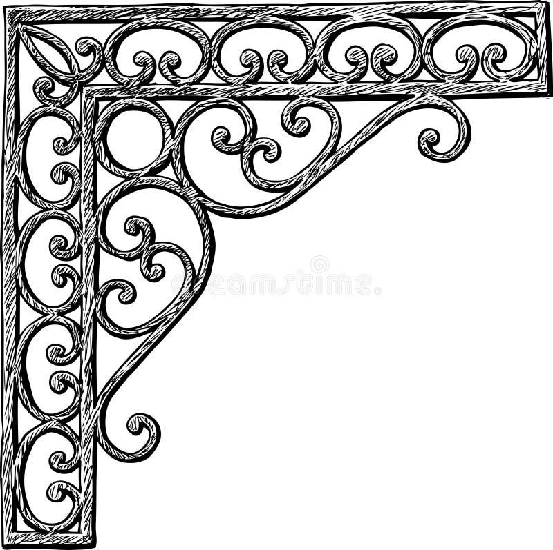 Architektoniczny szczegół w kształcie dekoracyjny kąt royalty ilustracja