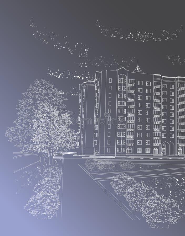architektoniczny tła budynku szarość wektor ilustracja wektor