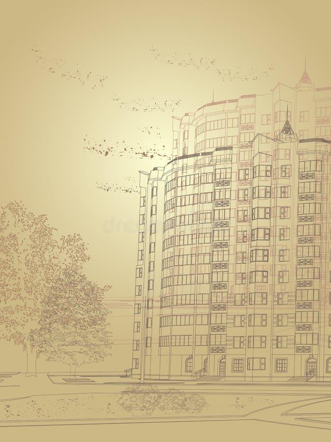 architektoniczny tła miasta sepia wektor ilustracja wektor