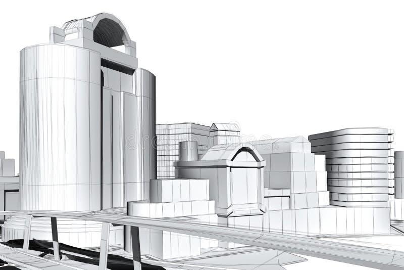 Architektoniczny unaocznienie ilustracja wektor