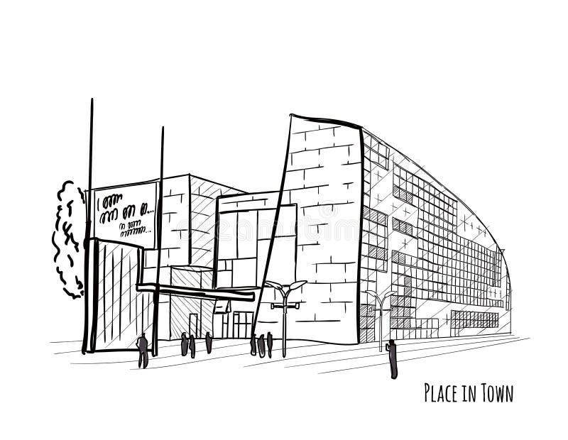 Architektoniczny wektorowy czarny i biały nakreślenie zdjęcia stock