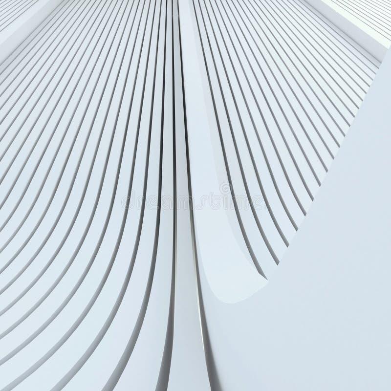 Architektonischer abstrakter weißer Hintergrund basiert auf verdrängten gerundeten Linien stock abbildung