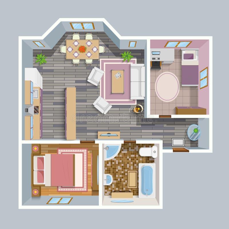 Architektonischer flacher Plan-Draufsicht stock abbildung