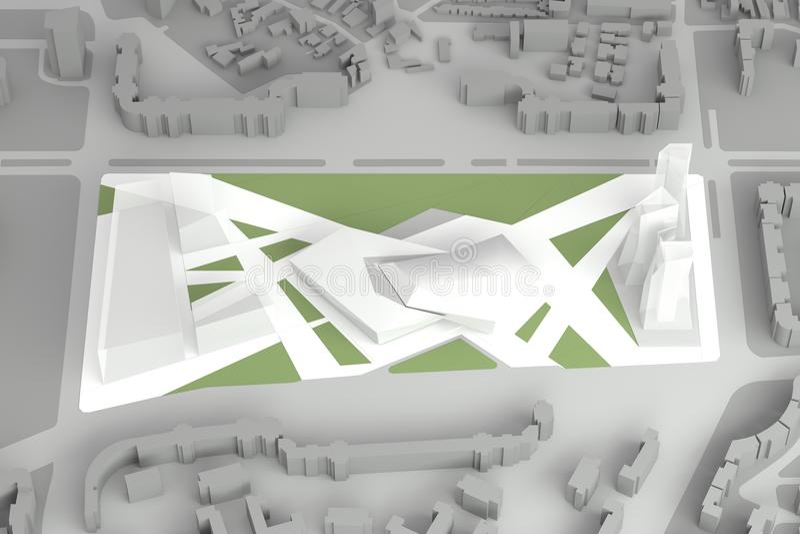 Architektonisches vorbildliches Of Downtown Financial-Stadtzentrum lizenzfreie abbildung