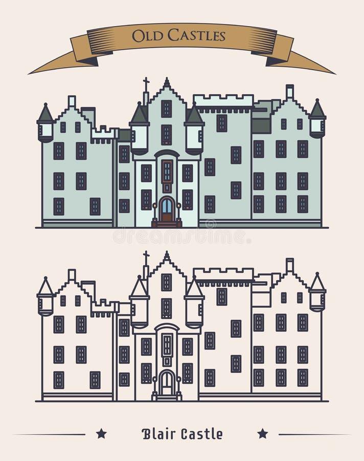 Architekturäußeres Schlosses Schottlands Blair altes stock abbildung