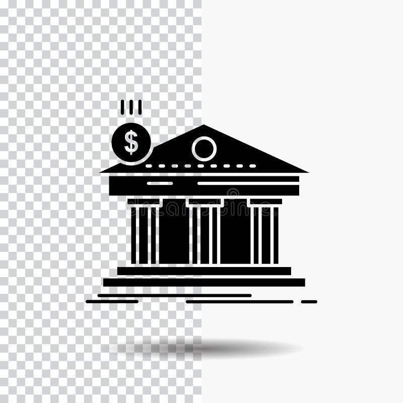 Architektur, Bank, Bankwesen, Gebäude, Bundesglyph-Ikone auf transparentem Hintergrund Schwarze Ikone lizenzfreie abbildung