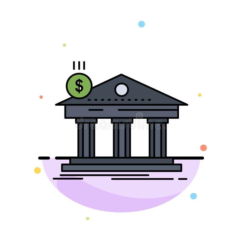 Architektur, Bank, Bankwesen, Gebäude, flacher Farbikonen-föderativvektor stock abbildung