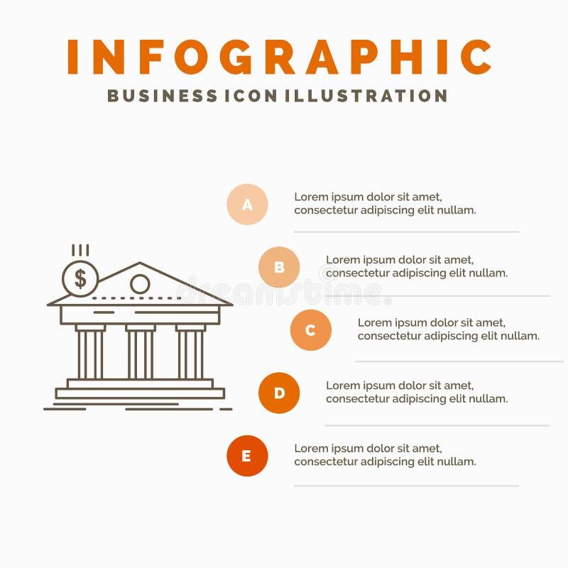 Architektur, Bank, Bankwesen, Geb?ude, Bundes-Infographics-Schablone f?r Website und Darstellung Linie graue Ikone mit Orange vektor abbildung