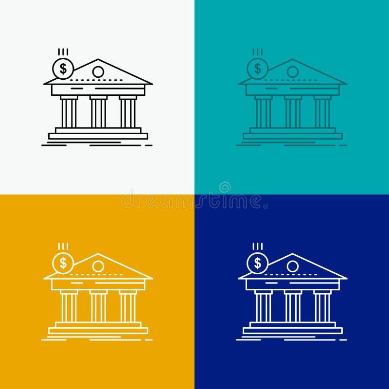 Architektur, Bank, Bankwesen, Geb?ude, Bundesikone ?ber verschiedenem Hintergrund r ENV 10 stock abbildung