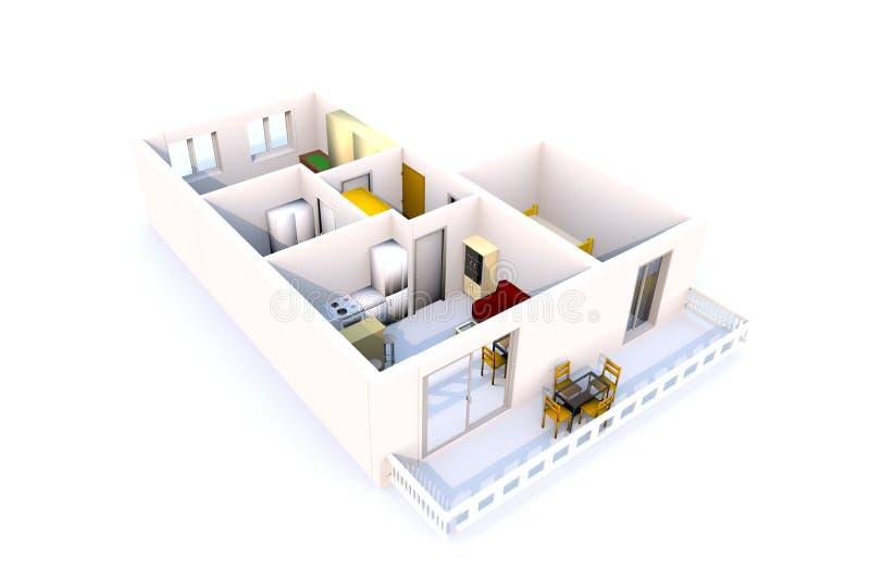 Architektur der Wohnung 3D stock abbildung