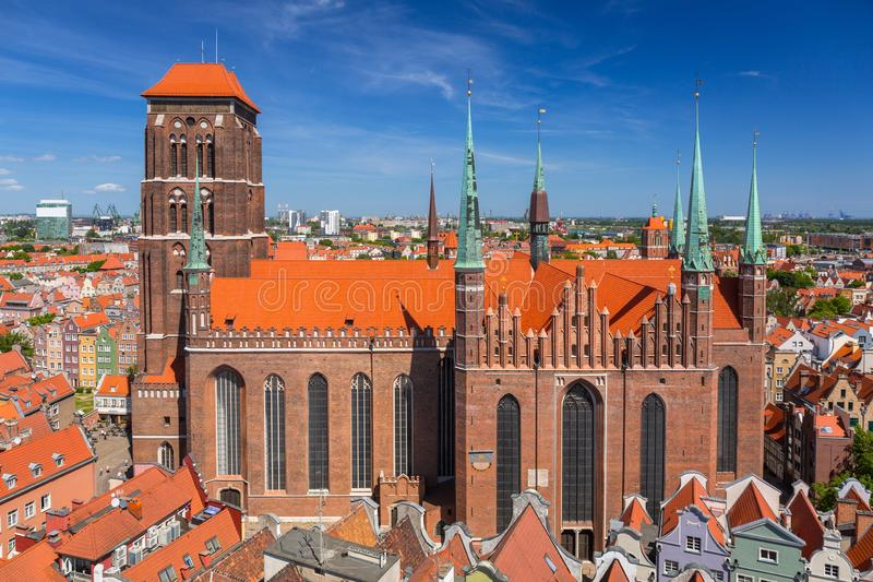 Architektur des St Mary u. des x27; s-Basilika in Gdansk, Polen lizenzfreies stockfoto