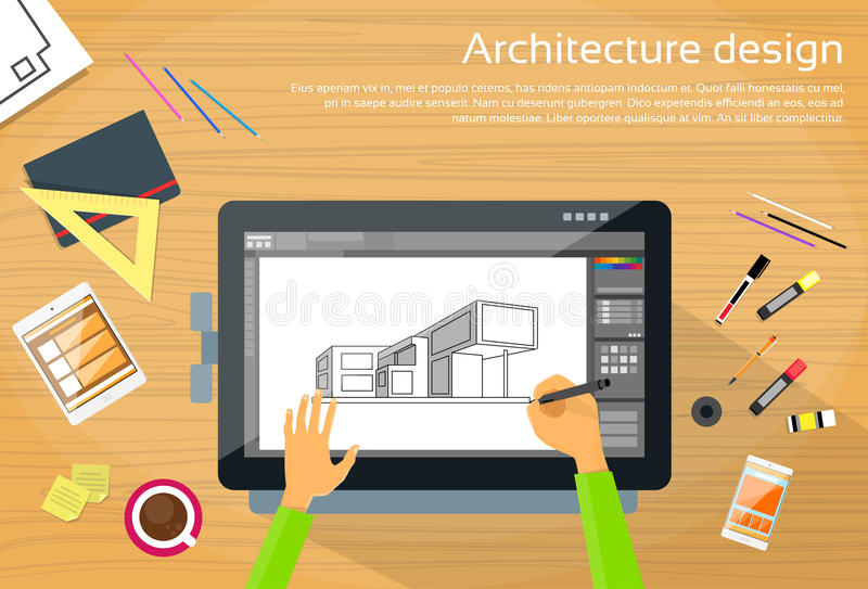 Architektur-Designer Workplace Desk Big Digital vektor abbildung