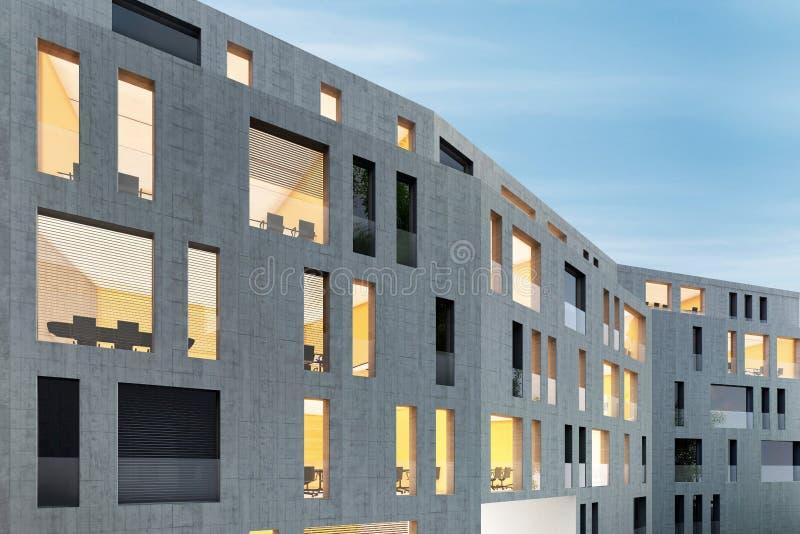 Architektur eines modernen konkreten Bürogebäudes stockfotos