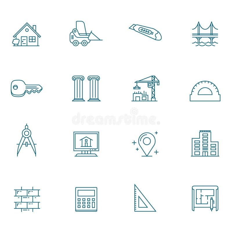 Architektur-Einzelteil-Linie Ikonen-Satz stock abbildung