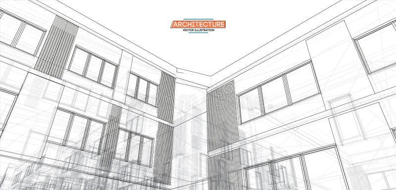 Architektur, großer Entwurf zu irgendwelchen Zwecken moderne errichtende Perspektive der städtischen Stadt der Architektur der Il stock abbildung