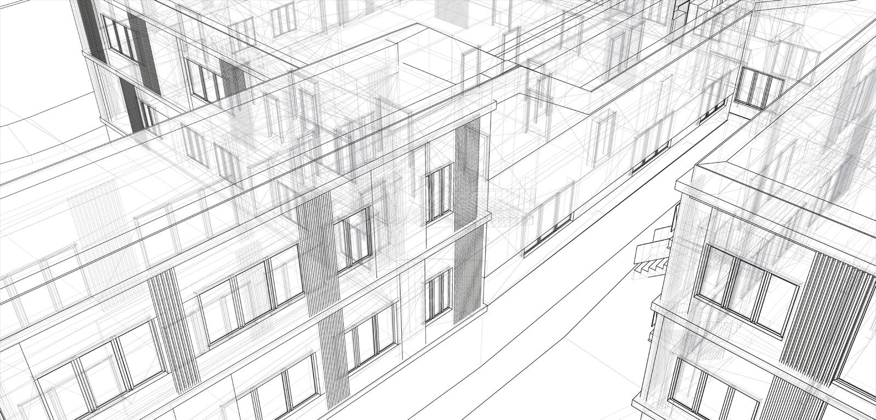 Architektur, großer Entwurf zu irgendwelchen Zwecken moderne errichtende Perspektive der städtischen Stadt der Architektur der Il vektor abbildung