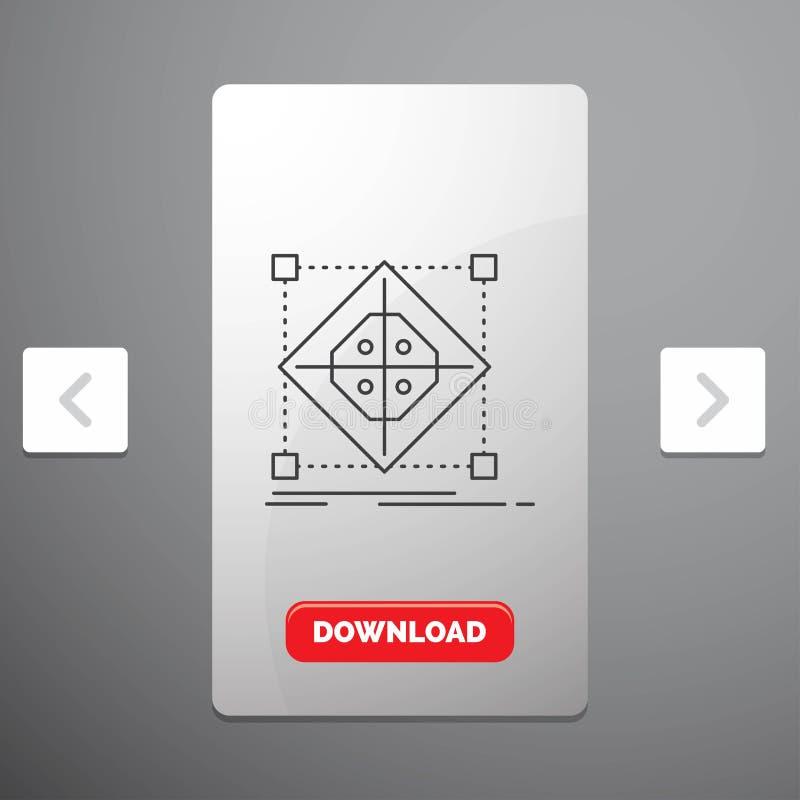 Architektur, Gruppe, Gitter, Modell, Vorbereitung Linie Ikone im Carousals-Paginierungs-Schieber-Entwurf u. roter Download-Knopf vektor abbildung