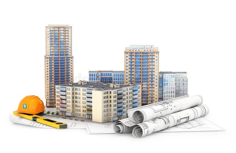 Architektur Hohe Gebäude auf den Zeichnungen, lokalisiert auf weißem Hintergrund lizenzfreie abbildung