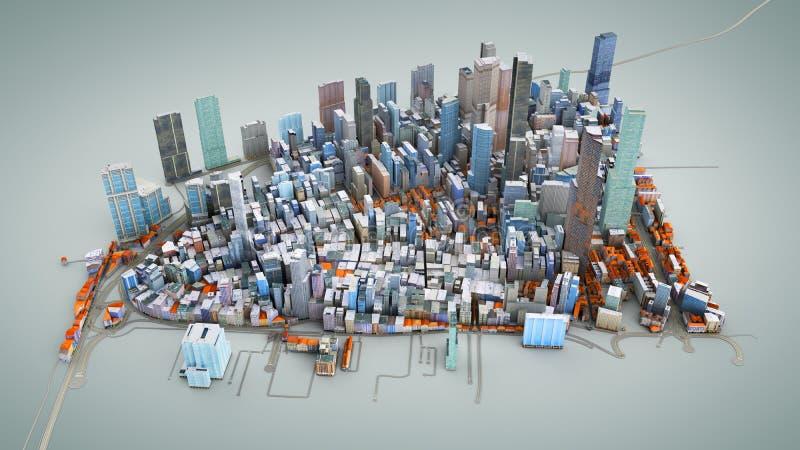 Architektur-Illustration des Modells 3D von einer Großstadt auf einem blauen Ba vektor abbildung