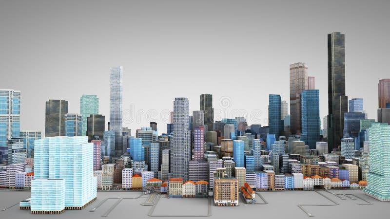 Architektur-Illustration des Modells 3D von einer Großstadt auf einem grauen Ba stock abbildung
