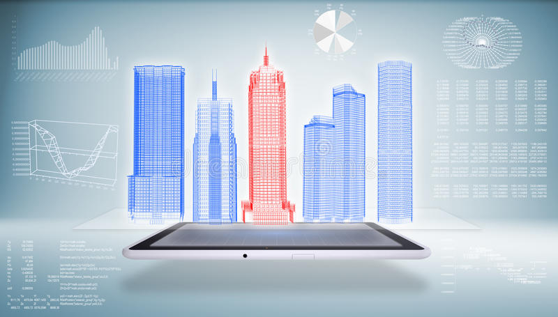 Architektur im Tablet-PC stock abbildung