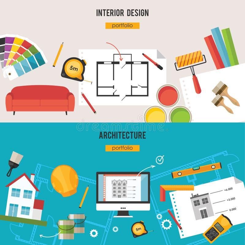 Architektur, Innenarchitektur und Reparaturen vector Konzept stock abbildung