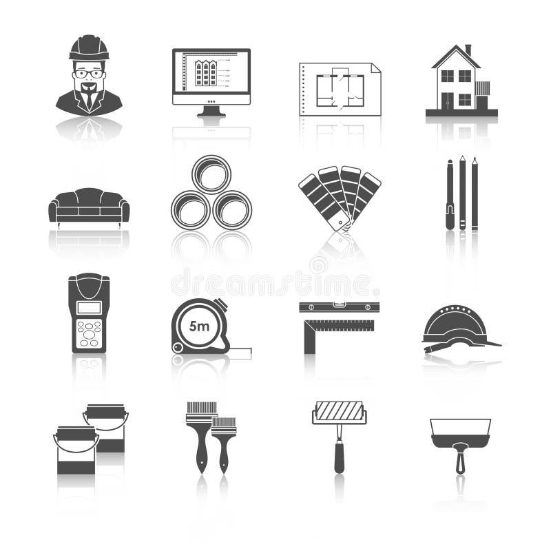 Architektur, Innenarchitektur und Reparaturvektorikonen eingestellt lizenzfreie abbildung