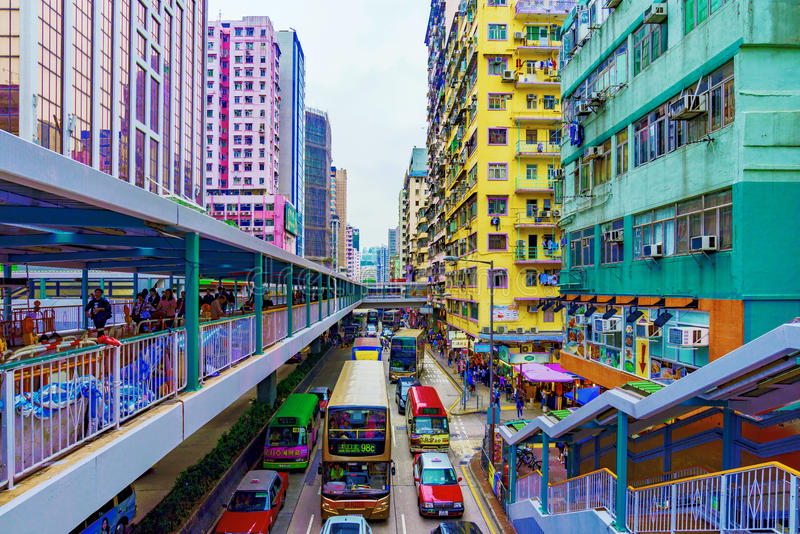 Architektur in Mongkok Hong Kong lizenzfreie stockfotos