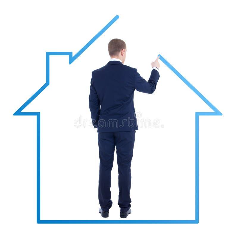 Architektur oder Immobilienkonzept - hintere Ansicht des jungen Geschäfts lizenzfreie stockfotografie
