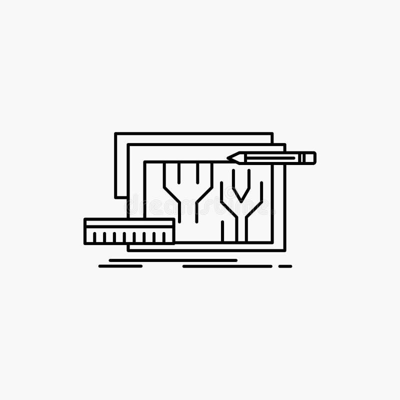 Architektur, Plan, Stromkreis, Entwurf, Linie Ikone ausführend Vektor lokalisierte Illustration lizenzfreie abbildung