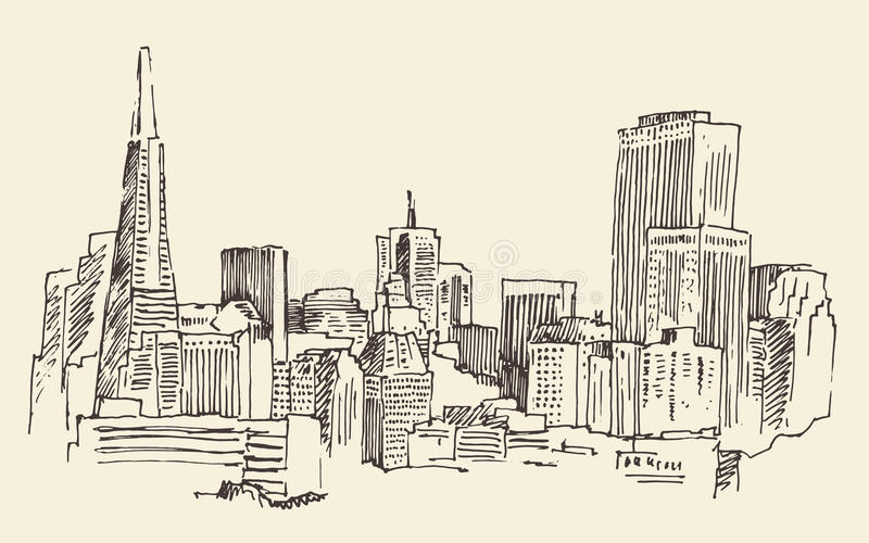 Architektur San Franciscos, Großstadt, Weinlese gravierte Illustration, die gezeichnete Hand, Skizze, vektor abbildung