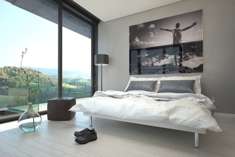 Architektur- Schlafzimmer-Design mit Glas-Windows vektor abbildung