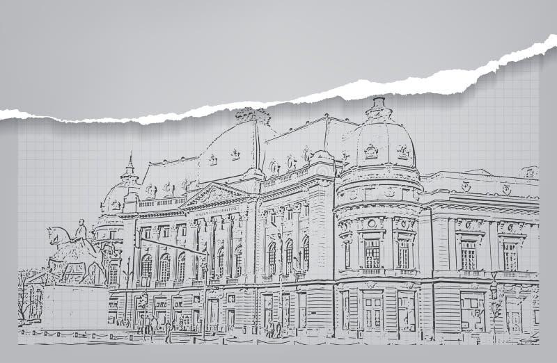 Architektur skizze zeichnung des geb udes stock abbildung - Architektur skizze ...