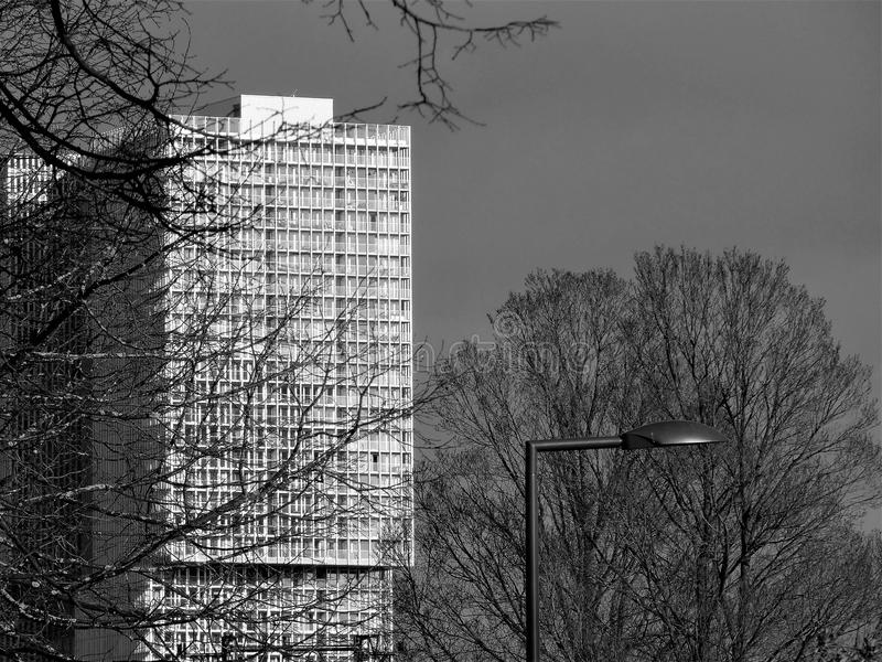 Architektur/Skyline Rotterdams Kop van Zuid - Schwarzes u. Weiß lizenzfreies stockbild