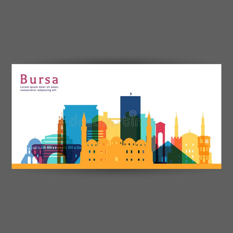 Architektur-Vektorillustration Bursas bunte vektor abbildung
